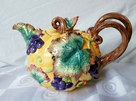 Fitz and Floyd Teapot 1993 Harvest Banquet Pumpkin Grapes Leaves 40 oz. Colorful - $75.95