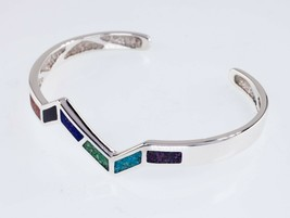 Waldeck Jewelers Sterling Silver Lapidary Inlay Cuff Bracelet Gorgeous - $137.54
