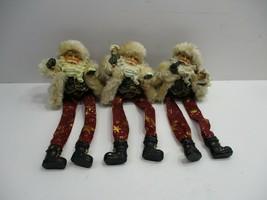 3 Fabric Legs Plastic Santa Claus Shelf Sitter Wall Hangers - $10.99