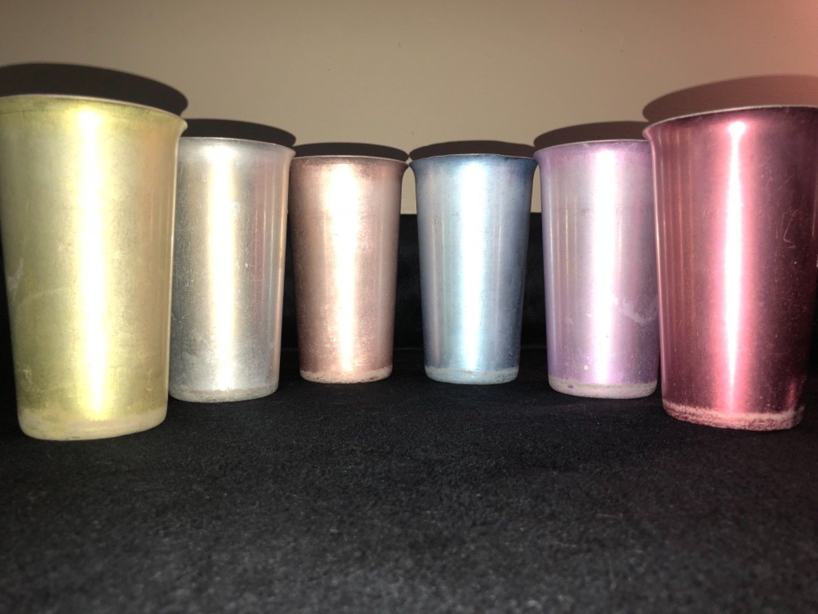 set of 6 anodized heller hostess ware colorama tumblers - vintage aluminum cups
