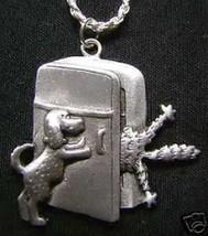 1557 Cat Dog fight fridge pendant charm silver jewelry - $34.47