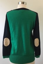 Womens J.Crew Black Label Navy/Green Sweater Cashmere Elbow Patches Size... - $37.39