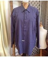 "BEN SHERMAN Navy Striped Men's Casual Dress Shirt 17.5"" 34–35 Cool Blue ... - $43.45"