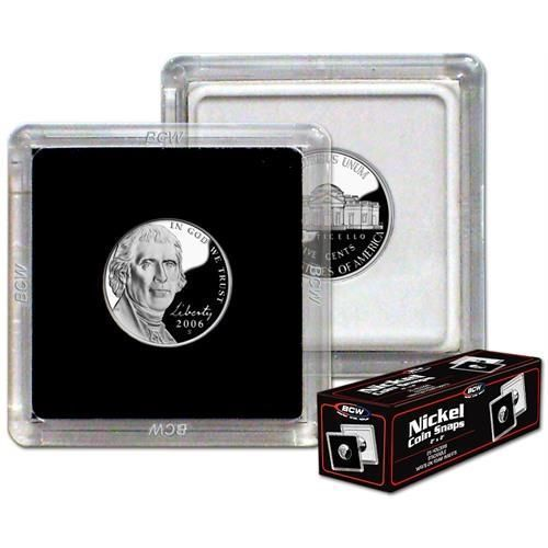(75) BCW (2 x 2) COIN SNAPS - NICKEL - BLACK