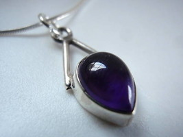 Amethyst 925 Sterling Silver Necklace Imported fr India Corona Sun Jewelry 913cL - $18.80