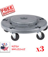 LOT of 3 Lavex Janitorial Gray Trash Can Dolly 274TCDOLLY   FAST SHIPPING! - $83.16