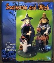 "13"" Fabric Mache Witch & Scarecrow Figurine Set - Halloween - FREE SHIPP... - $39.00"