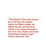 POSTCARD -ELEANOR ROOSEVELT'S 1945 QUOTE ABOUT THE UNITED STATES MARINES... - $2.94