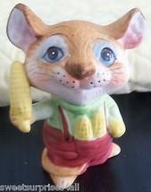 "Vintage MOUSE Figurine Holding Corn Cobs Figural Animal 3.5"" tall - $9.89"