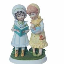 Lefton figurine vtg cooking baking girls kids bowl ceramic cook book dec... - $39.55