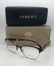 Neu Versace Brille MOD.1233-Q 1344 53-17 140 Braun & Gold Katze Auge mit / Leder