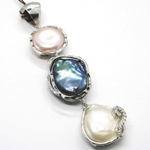Silver Pendant 925, Three Pearls Baroque Style, Black, Pink, Cz, Made in Italy image 2