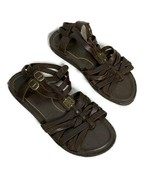 Woman's A.N.A Brown Gladiator Sandal Size 9.5 Buckle Slip On Strap Flat ... - $24.75