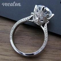 Vecalon Women Vintage Jewelry Ring Round 3ct Zircon Cz Sterling Silver E... - $21.42