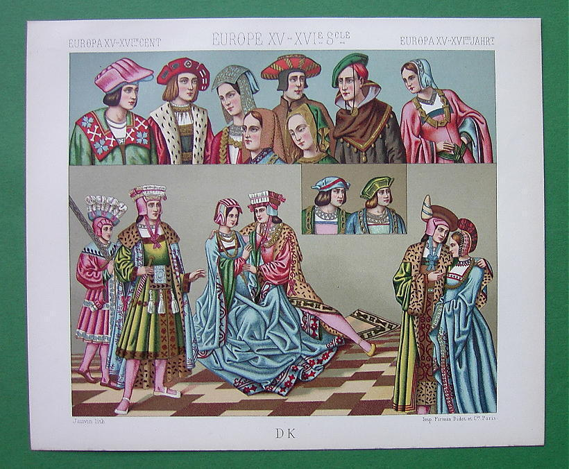 RENAISSANCE Costume Europe Fancy Hats - COLOR Litho Print by A. Racinet