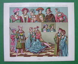 RENAISSANCE Costume Europe Fancy Hats - COLOR Litho Print by A. Racinet - $12.60