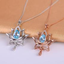 KJJEAXCMY 925 Pure Silver, Necklace of Natural Topaz Blue Lotus - $64.00