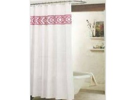 New Threshold Shower Curtain White Pink Tribal White Embroidered Target ... - $19.00