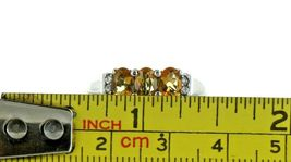 Vintage Ladies Size 9.25 Sterling Silver Citrine 3 Stone Fashion Ring No. 2125 image 7