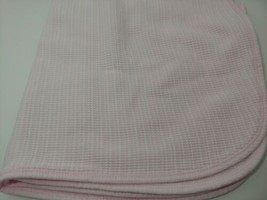 Gerber pink white striped baby thermal receiving blanket waffle weave  - $12.86