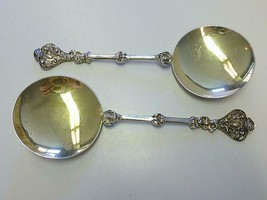 Pair 1894 William Hutton APOSTLE Sterling Silver Gilt Spoon w Angel Cherub - $149.99