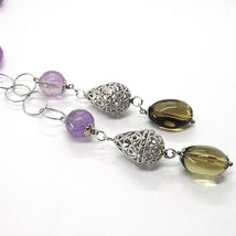 Necklace Silver 925, Amethyst round and Rectangular, Quartz Smoky Oval, Pendant image 3