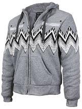 EKZ Men's Graphic Geo Tribal Fleece Lined Zip Up Sherpa Hoodie Jacket image 11