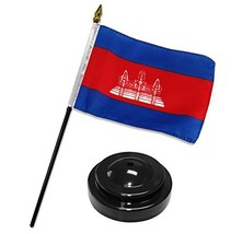 ALBATROS Cambodia 4 inch x 6 inch Flag Desk Set Table Stick with Black B... - $19.93