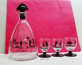 Glass Decanter and 3  Footed Cordials, Hunting Scenes, Black Glass Accents - $24.50