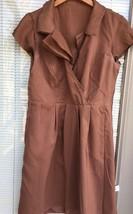 Ann Taylor LOFT Silk Shift Dress Women's 6 Petite Brown Cap Slv Surplice... - $24.74