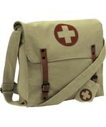 Khaki Vintage Canvas Medic Red Cross Military Shoulder Bag - $17.99