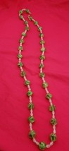 """Beautiful 36"""" Vintage Necklace with Frosted Green Glass and White Beads ... - $39.00"""