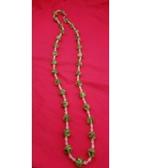 "Beautiful 36"" Vintage Necklace with Frosted Green Glass and White Beads ... - $39.00"