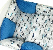 Pillow Bumper 11PCS Toddler Bed Crib Bumpers Set Of Bedding For Cot Bed Blue Car - $139.50