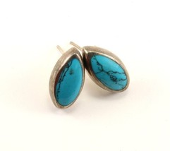 Vintage Marquise Shape Turquoise Studs Earrings 925 Sterling ER 66 - $19.99