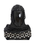 Dolce & Gabbana Black Knitted Wool Crystal Beaded Hood Scarf Hat - $767.20