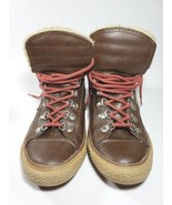 Converse all stars brown leather high tops with faux fur size 5 unisex j... - $65.00