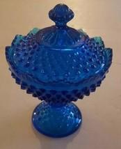 Vintage Fenton Colonial Blue Compote Lidded Hobnail Dish - $34.64