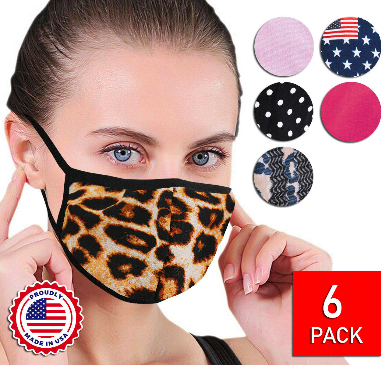 Women's Reusable Face Covers Cloth Protection Masks Handmade In The USA Lot of 6