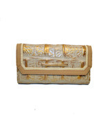 Brahmin Champagne Ornico emb  Leather Soft Checkbook Wallet DAZZLING Clu... - $170.52