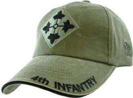 Us Army 4th Infantry Division - U.S. Army Od Green Military Baseball Cap Hat - $31.99