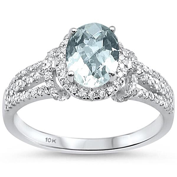 1.42cts 10k White Gold Oval Green Amethyst Diamond Ring