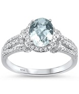 1.42cts 10k White Gold Oval Green Amethyst Diamond Ring  - $475.12