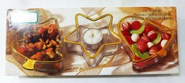 Holiday gold by indiana glass christmas candy serving dish set of 3 clear - $21.91
