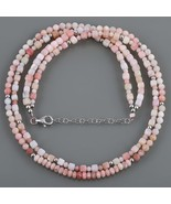 Pink Opal Faceted Gemstone 2 Layer Designer Necklace with Sterling Silve... - $42.99