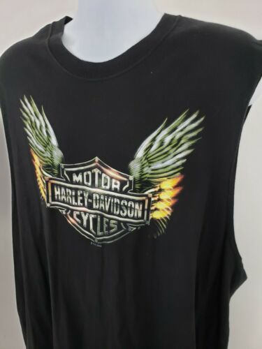 Harley-Davidson Motorcycle Sleeveless Black T-shirt Wichita Kansas Wings Size XL image 3