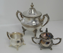 Vintage Silverplate Copper Sugar, Creamer, Handled Waste Bucket, Footed, For Tea - $34.40