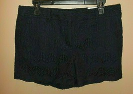 "Ann Taylor Loft Womens Size 8 4"" Shorts Lace Overlay Navy Blue New  - $24.74"