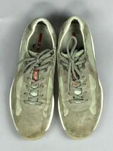 "PRADA Americas Cup Luxury Gray Suede 4E 2043 Auth Men""s Sneakers Shoes U... - $138.59"
