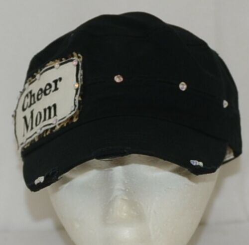 Pinky Bolle Brand Decorative Womans Hat Black Cheer Mom Patch